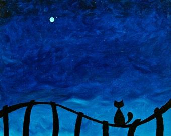 "Cat on Fence. Original Acrylic Painting by Jenn Delfs (16""x20"")"