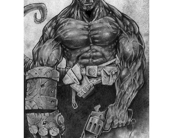 Hellboy - Hellboy Black & White Art Print