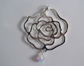 Silver Rose Pendant Necklace with Aurora Borealis Swarovski Crystal