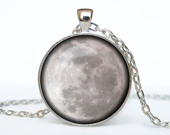 Full moon necklace Full moon pendant Galaxy jewelry Universe pendant