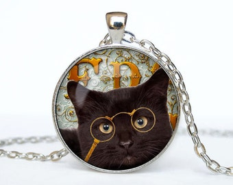 Steampunk cat necklace Steampunk cat pendant Steampunk cat  jewelry