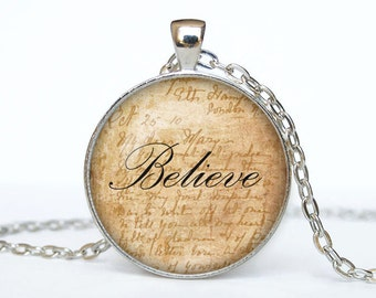 Believe necklace Believe pendant Believe jewelry Believe word