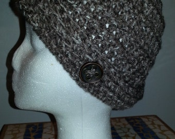 Brown heather crocheted hat with vintage button
