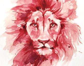 Lion Watercolour Art Print