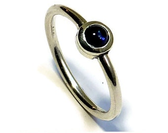 Delicate silver ring with Iolite (also Cordierite) in the cabochon cut, delicate silver ring with iolite cabochon