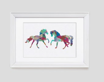 Modern cross stitch pattern, Horse cross stitch pattern, counted cross stitch pattern, modern horse cross stitch pattern