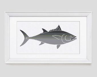 Modern Cross Stitch Pattern, tunafish cross stitch pattern, tuna cross stitch pattern, tuna counted cross stitch pattern