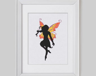 Fairy cross stitch pattern, Fantasy fairy counted cross stitch pattern, Fairy counted cross stitch pdf pattern