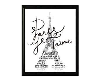 BLACK Eiffel Tower PARIS subway art - Paris Je Taime - Paris I Love You romantic french print 8X10 digital download only 1.00