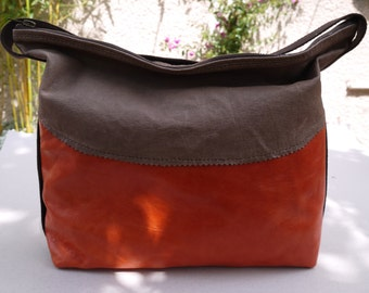 Bag Leather Brown and orange dark woman
