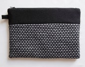 Black And White Wool Clutch, Geometric Clutch, Modern Purse, Minimalist, Elegant Clutch,Black And White Bag,Clutch With Zipper, Lined Clutch
