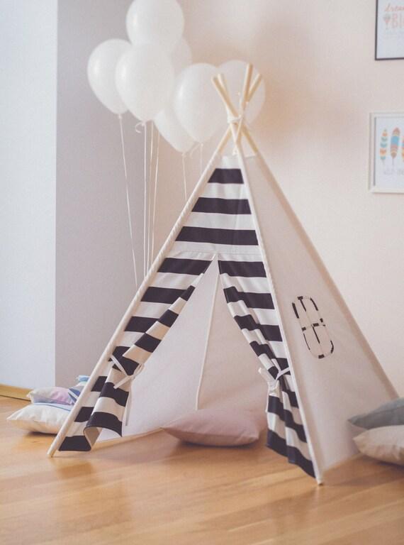 Black and white stripe kids teepee play tent wigwam