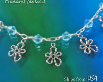 Flower Charms (10) Double-Sided, Tibetan Silver Flower Charm, Open Design Flower Pendant, Small Flower Pendant, 2 Sided Charms