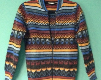 Rich Multi-Color and Patterned Zip-Front Sweater