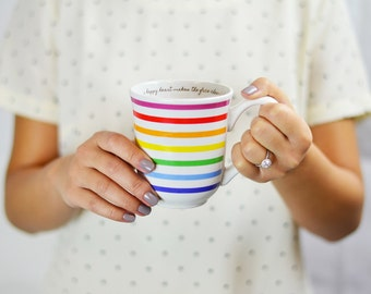 Happy Heart Makes Face Cheerful Colorful Stripes Rainbow Coffee Mug Cup | Proverbs Bible Verse Bridesmaid Gift Engagement Bridal Shower