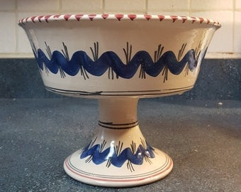 Vintage Italian hand painted pedestal bowl