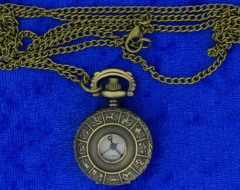 Zodiac Pocket Watch Necklace or Keychain Astrology Horoscope Chain Length Choice