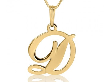 Initial Necklace - Gold Initial Pendant Necklace Gold Single Initial Name Chain Pendant Single Initial Name necklace Single Initial