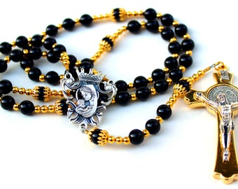 Onyx Agate Gemstone Catholic Rosary w/Gold Crucifix, Free Shipping