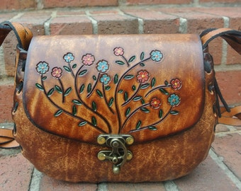 Tooled Leather Purse Gift for Her - Womens Tooled Leather Purse - Hand Tooled & Hand Painted Leather Floral Handbag