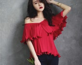 off shoulder top in wine red,navy,gray,apricot,flouncing,pleated,layers,elegant,fashion,Convertible,for summer.--E0149