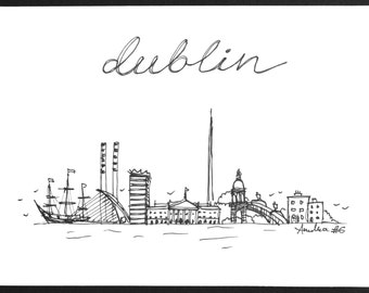 Dublin skyline card | Dublin landmarks | Ireland | original drawing | handmade card | hand-drawn card