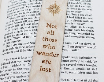 Not All Those Who Wander Are Lost - Wooden Bokmark Book Lover Gift Personalised Personalized Custom LOTR Geek