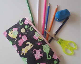 Kitty Cat Pencil Pouch, Kitty Cat Pencil Case, Cats Pencil Pouch, Cats Pencil Pouch, Girl's Pencil Case, Girl's Pencil Pouch