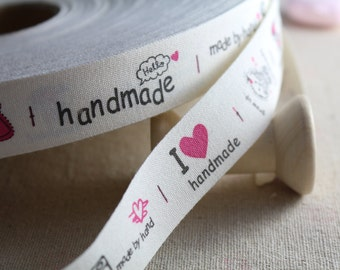 """2 Meters of 2.0 cm (~ 0.8"""") Wide Zakka Cotton Ribbon/Sewing Tape/ Cotton Label with """"I LOVE Handmade"""" Print"""