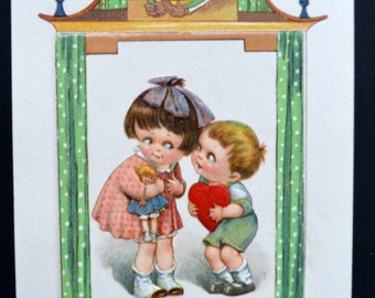 Valentine Postcard Booklet by artist  Jason Frexias Children and Hearts