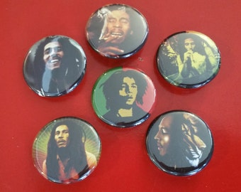 Bob Marley set of 6 pin back buttons 1.25""
