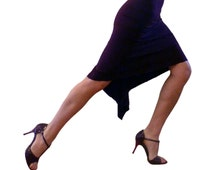 Tango Skirt w/long back ruffle accent - Slinky Single Layer Knee Length
