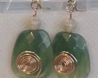 Green gem, wire wrapped earrings