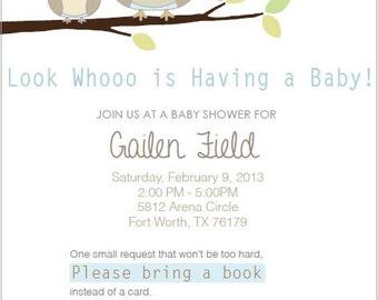 Custom Owl baby Shower Invitation