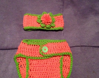 Baby Girl Headband Diaper Cover Set (Lime Green and Pink)