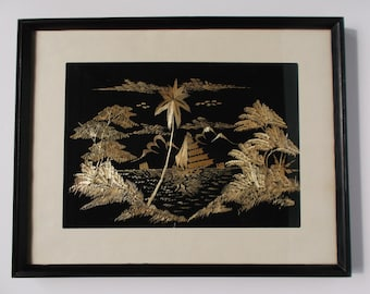 Vintage Framed Rice Straw Art