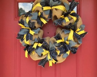 Live, laugh, love burlap wreath with yellow and white polka dot ribbon!
