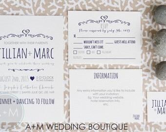 Wedding Invitation set, Boho Wedding Invitation, Printable Invitations, Rustic invitation set : JILLIAN
