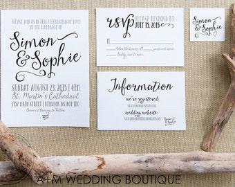 Wedding Invitation set, Romantic Wedding Invitation, Printable Invitations, Rustic invitation set : SIMON & SOPHIE