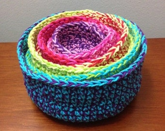 Crochet Nesting Bowls Pattern / Tutorial: Set of 7 Colorful Nested Crochet Basket Pattern - Instant Download