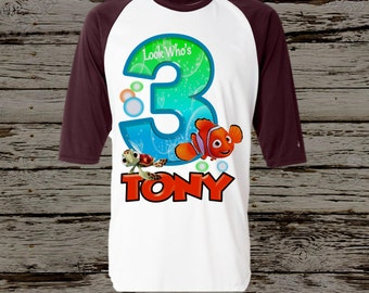 Finding Nemo Birthday Shirt - Nemo Raglan Birthday Shirt Available