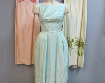 Reserved for Amanda: 3 Lots of Vintage 1950's 1960's Evening Dresses, Wholesale Lot, EMBROIDERED SATIN, EMPIRE Waist, 8 items total