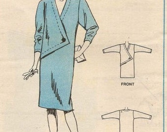 McCall's vintage 1980s sewing pattern - asymmetrical dress - Size 12-14-16