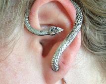 Egyptian Snake Ear Cuff | Ear Cuff | Snake EarCuff | Antique Silver Ear Wrap