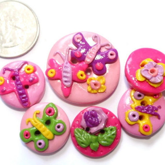 Handmade button sewing button butterfly handmade polymer for Craft buttons for sale