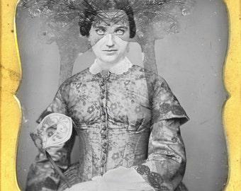 woman victorian portrait | mask |  oddities art | Creepy and weird | Instant Download | Digital Wall Art