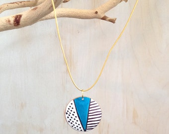Black, White, Blue and Gold Hand Drawn Necklace