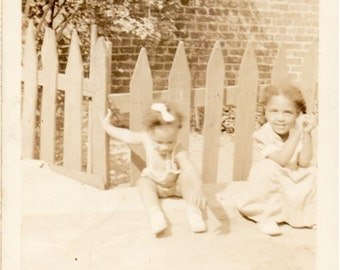 Circa 1930's Sepia Tone Photo of African American Toddlers In Front of White Picket Fence - Scanned