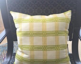 Designer Plaid Green Outdoor Pillow