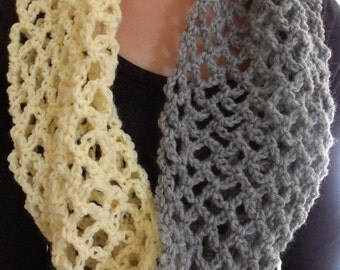 Crochet Lace Mesh Summer Scarf / Light Scarf / Infinity Scarf